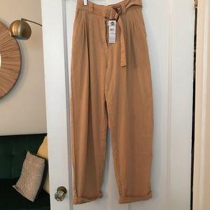 Camel straight leg pant